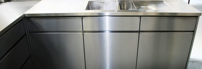 Handleless Base Cabinets With Drawers, Stainless Steel ...