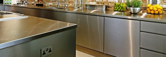 Handleless Base Cabinets, Stainless Steel Kitchen Cabinets ...