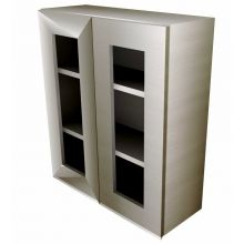 Handleless Double Door Wall Cabinet With Glass Doors