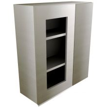 Handleless Straight Corner Wall Cabinet With Glass Doors