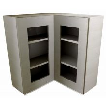 Handleless L Shaped Corner Wall Cabinet With Glass Doors