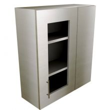 Straight Corner Wall Cabinet With Glass Doors