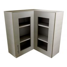 L Shaped Corner Wall Cabinet With Glass Doors